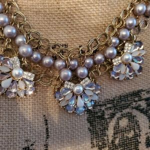 2 for $20 Lilac Pearl & crystal statement necklace